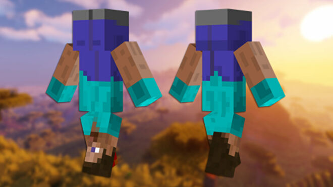 A front and back view of the Upside Down Minecraft skin.