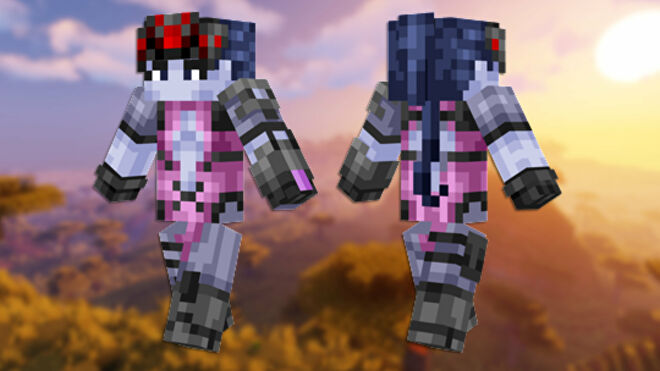A front and back view of the Widowmaker Minecraft skin.