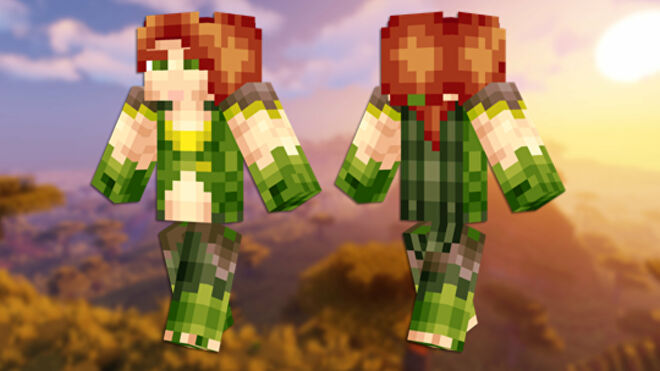 A front and back view of the Windranger Minecraft skin.