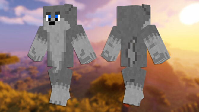 A front and back view of the Wolf Minecraft skin.