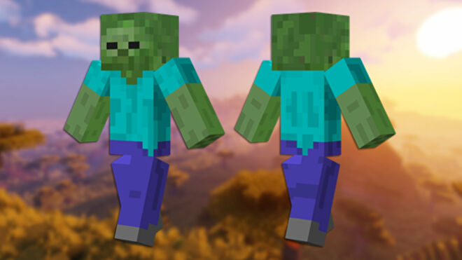 A front and back view of the Zombie Minecraft skin.