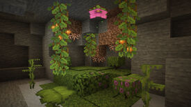 A Minecraft screenshot showing the new Cave Vines, Glow Berries, Moss, and other moist additions.