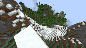 Looking down from the top of a very tall snowy mountain in Minecraft.