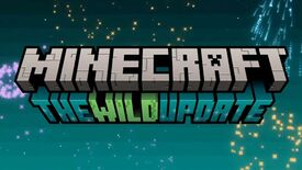 Logo for The Wild update, coming to Minecraft in 2022. Fireworks surround the logo