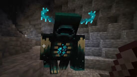 A Warden attacking a player in the Deep Dark biome in Minecraft.