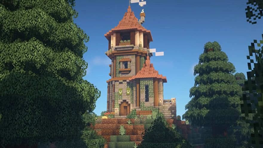 wizard tower surrounded by trees in minecraft