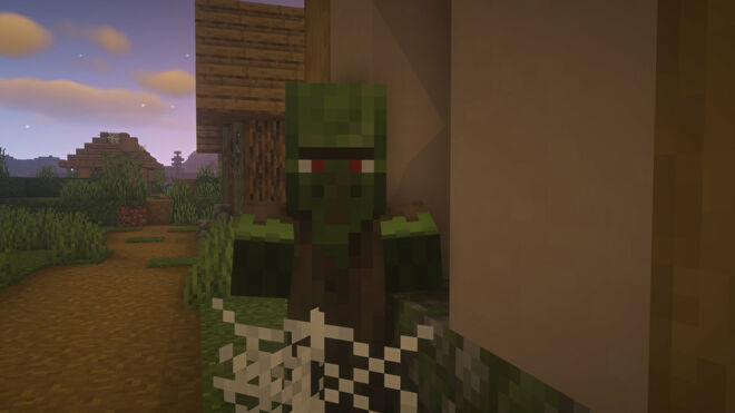 A Zombie Villager in Minecraft staring at the player.