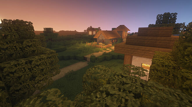 A Minecraft screenshot of a landscape displayed using Misa's Realistic Texture Pack.