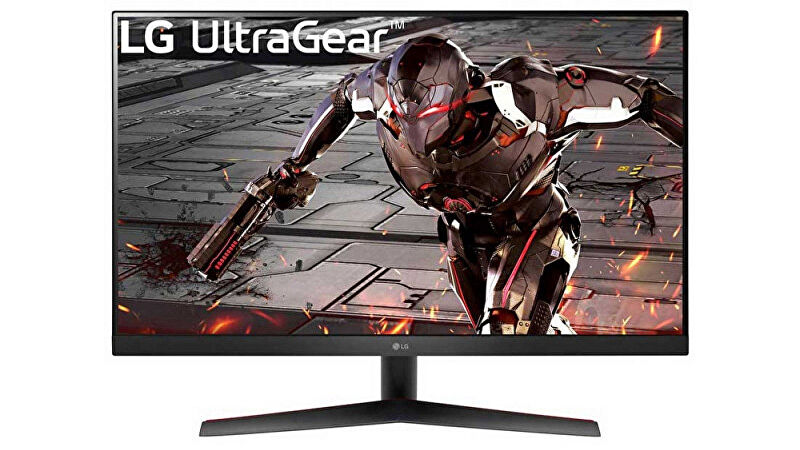 the lg 32GN600-B is a large 32-in monitor with 1440p resolution and 165hz refresh rate, plus a cool robot on it
