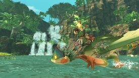 Monster Hunter Stories 2 - A player character rides on the back of a Pukei-Pukei in front of a waterfall while a feline character rides on the player's shoulder.