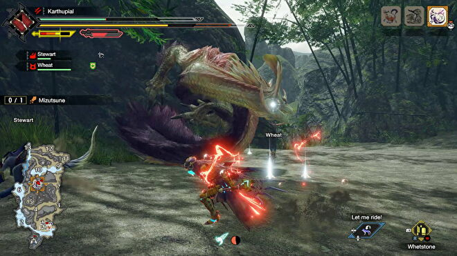 A warrior fights a big water dragon monster in Monster Hunter Rise on PC