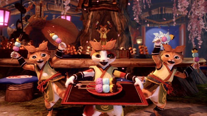 Three Palicos holding plates of food in Monster Hunter Rise
