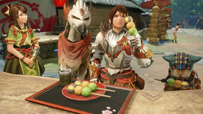 A screenshot of a hunter eating a plate of bunny dango next to her dog-like Palamute and cat-like Palico in Monster Hunter Rise