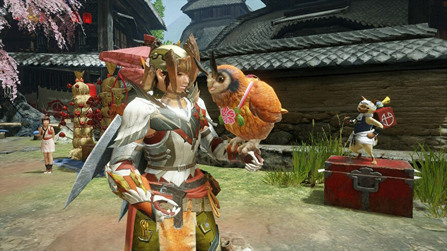A screenshot of a Hunter holding an orange owl on their arm in Monster Hunter Rise