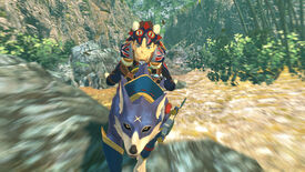 The player rides on a Palamute, a blue dog monster, as it charges towards the camera in Monster Hunter Stories 2.
