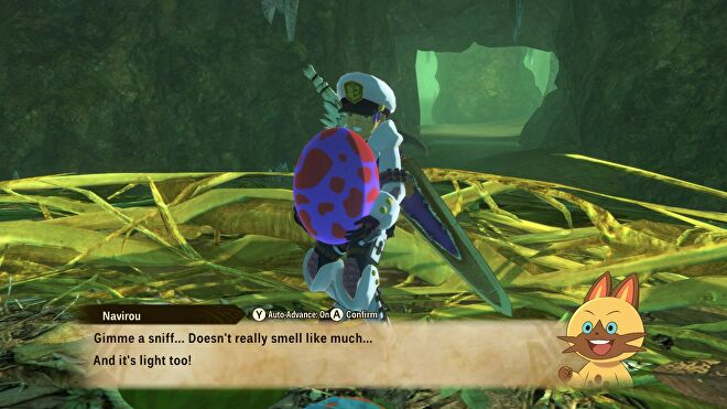 An image from Monster Hunter Stories 2 which shows the player holding a monster egg, having just snatched it from a nest. Navirou the cat comments on its smell and weight.