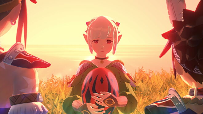 An image from Monster Hunter Stories 2 which shows Ena facing the camera and clutching a red egg to her chest, while two characters stand off to the side and face her.