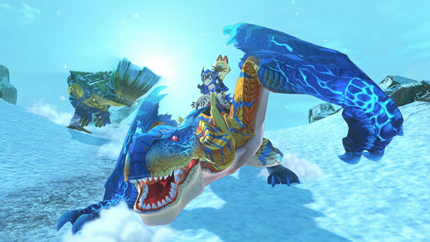 A boy rides a blue dragon in an icy scene in Monster Hunter Stories 2: Wings Of Ruin
