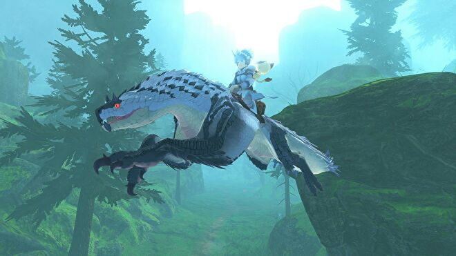 An image from Monster Hunter Stories 2 which shows the player riding on a big lizard.