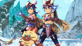 The rider of Monster Hunter Stories 2 and Navirou standing in front of an icy background