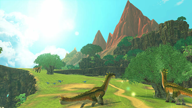 An image from Monster Hunter Stories 2 which shows off an open, grassy area, with some diplodocus-lloking monsters grazing on trees.