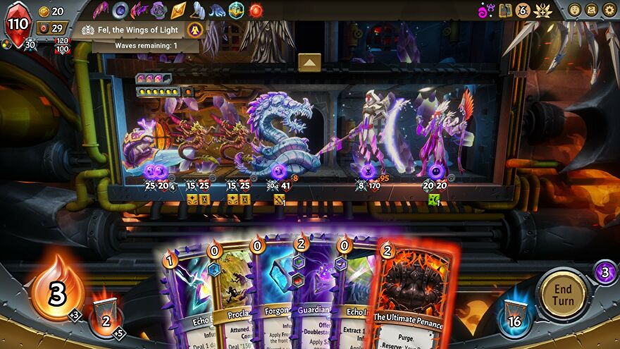 A screenshot of Monster Train's The Last Divinity DLC, showing the cut through of a train as monsters face off and a row of cards along the bottom of the screen.