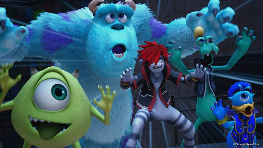 Mike and Sully roar with spooky versions of Donald and Goofy.