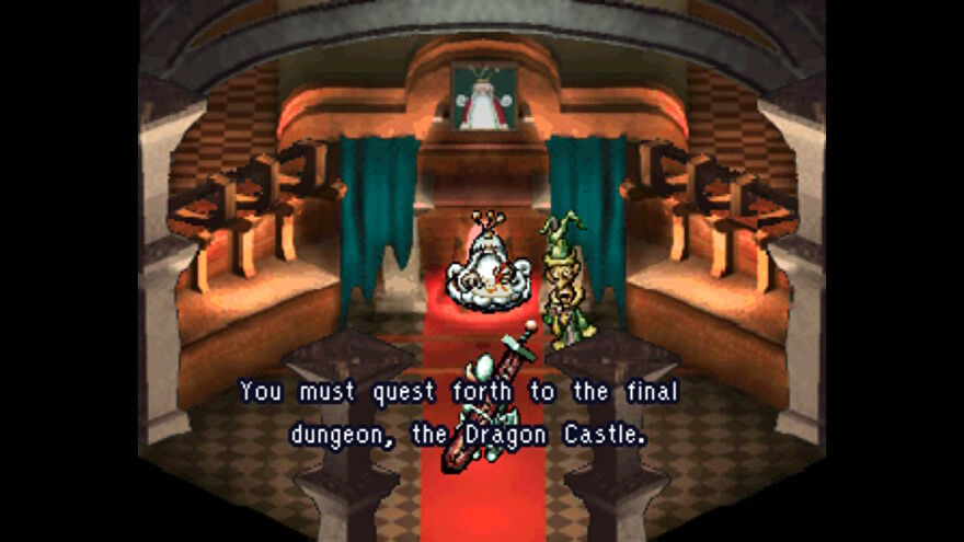 A screenshot of Moon: Remix RPG Adventure showing a pre-rendered 3D background of the inside of a building, with sprite character art on top.