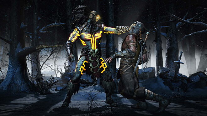 One player grabs another in Mortal Kombat X.