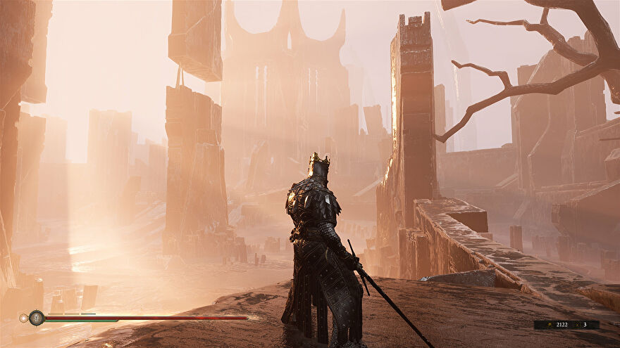 A player looks out at a ruined city in Mortal Shell.