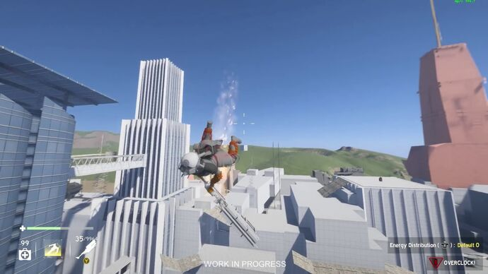 An in-development screenshot of a character in a helmet flying above a grey-boxed city level holding what looks like a large swordgun.