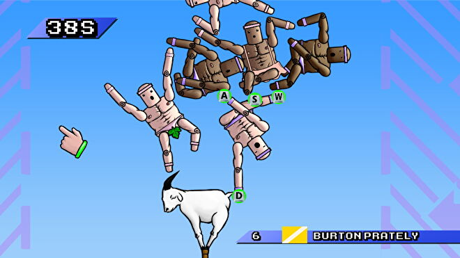 A tangle of players atop a goat in Mount Your Friends.