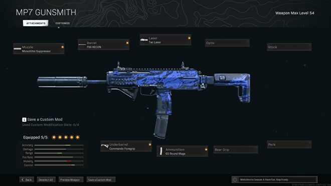 A sniper support MP7 build in Warzone