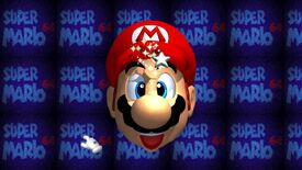 The loading screen of Super Mario64, with a smiling Mario staring at a star. The star is casting a light on his face.