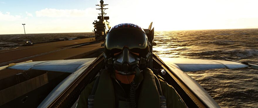 A still from the Microsoft Flight Simulator trailer showing Maverick taking off from an aircraft carrier in a fighter jet in the Top Gun: Maverick tie-in expansion.