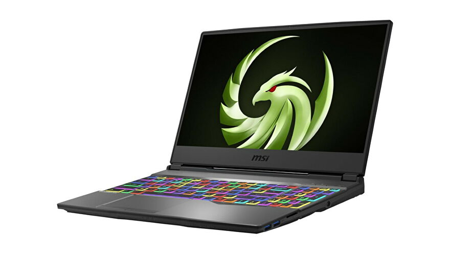 A photo of the MSI Alpha 15 gaming laptop