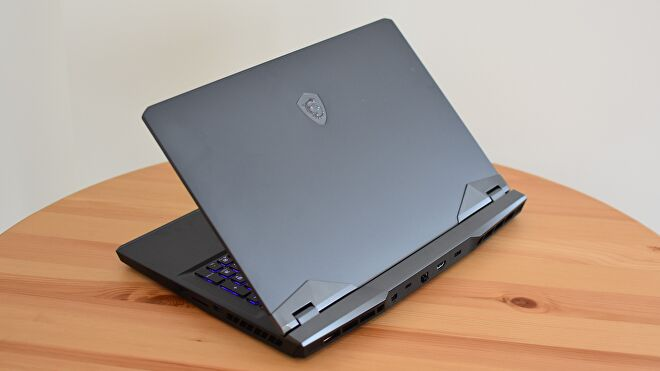A rear view of the MSI GE76 Raider gaming laptop.