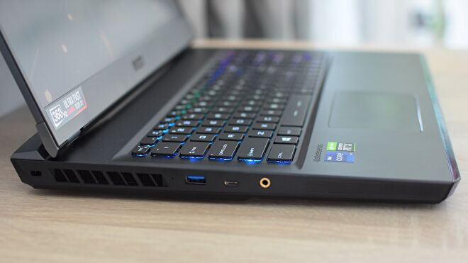 A photo of the MSI GE76 Raider gaming laptop's left side ports.