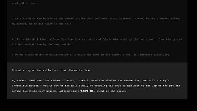 A screenshot from My Father's Long, Long legs - white text on a black background - describing the father in question leaping out of a deep hole in the floor with one bound