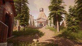 Myst remake 2021 - A sunny, wooded pathway leading to a marble temple with a circular pedestal in front.