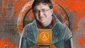 Gordon Freeman standing in front of a Half-Life backdrop, but with the face of Gabe Newell.