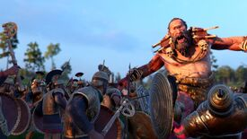 A screenshot of A Total War Saga: Troy's Mythos expansion, featuring an actual factual cyclops on the battlefield.