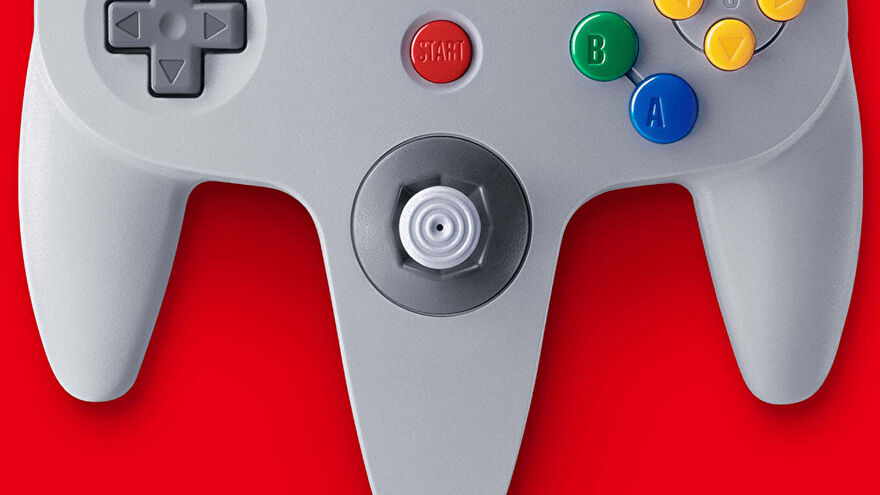 A close-up of the N64 controller, showing the analogue stick, start button, BA and D-pad.
