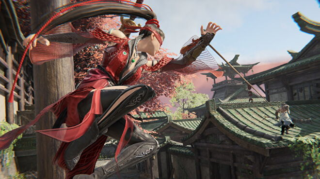 A screenshot from Naraka: Bladepoint which shows a ninja sling her grappling hook onto an unsuspecting enemy.