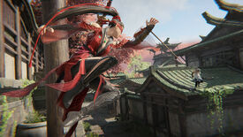 A woman with a grappling hook launches onto an enemy on a rooftop in a Naraka: Bladepoint screenshot.