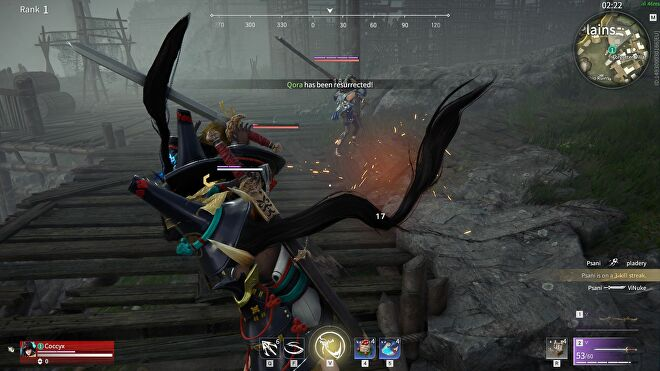 Two warriors battle with swords in Naraka: Bladepoint