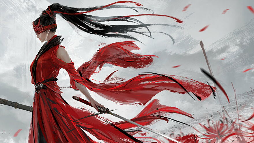 Artwork of a female fighter in red robes from Naraka: Bladepoint