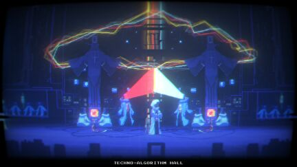 Narita boy stands in a hall where faintly transparent, tall, hooded figures stand or sit beneath two tall statues. Two of the figures are shooting a red and white light from their faces, meeting in the middle. RGB lights crackle overhead. It is deeply retro and deeply weird.