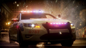 A police car drives away from an explosion in a Need For Speed: The Run screenshot.