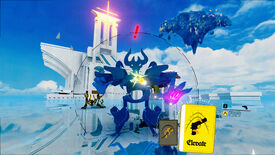 A horned, skeletal monster stands on a platform against a brilliant blue sky with a white tower behind them, while the player's UI shows two available cards to use in the real-time fight.